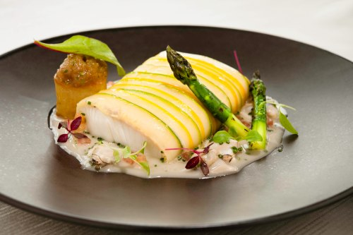 Sky on 57 -  Steamed Canadian Halibut and Lobster Mousseline, Clams and Herbs Fondue 150713-6
